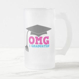 OMG I graduated Frosted Glass Beer Mug