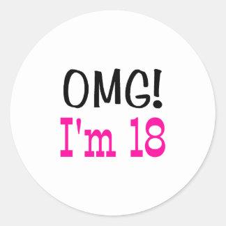 OMG I'm 18 (pink) Classic Round Sticker