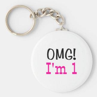 OMG I'm 1 (pink) Basic Round Button Keychain