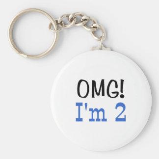 OMG I'm 2 (blue) Keychain