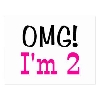 OMG I'm 2 (pink) Postcard