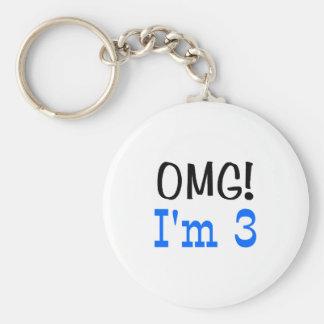 OMG I'm 3 (blue) Keychain