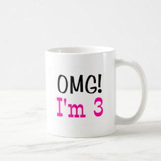 OMG I'm 3 (pink) Coffee Mug