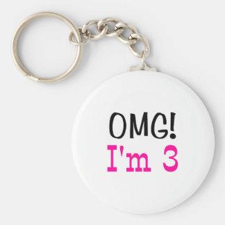 OMG I'm 3 (pink) Keychain