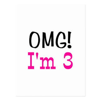 OMG I'm 3 (pink) Postcard