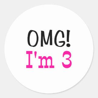 OMG I'm 3 (pink) Classic Round Sticker