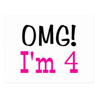 OMG I'm 4 (pink) Postcard