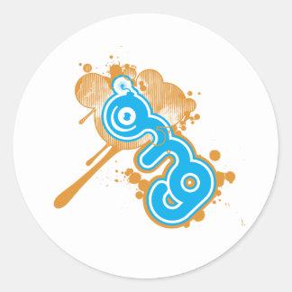 omg-logotipo pegatina redonda