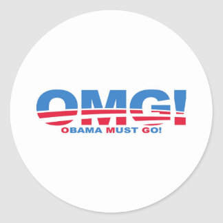 OMG: ¡Obama debe ir! Etiquetas Redondas