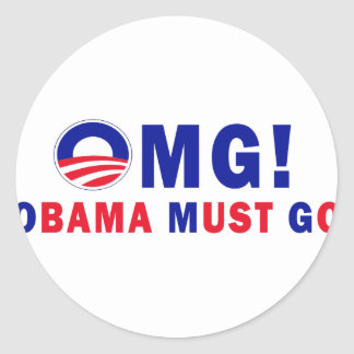 ¡OMG! ¡Obama debe ir! Etiquetas Redondas