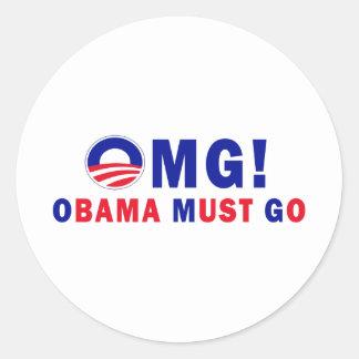 ¡OMG! ¡Obama debe ir! Etiqueta Redonda