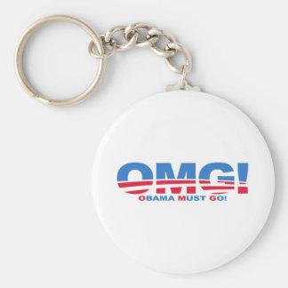 OMG: Obama Must Go! Basic Round Button Keychain