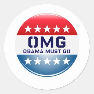 OMG OBAMA MUST GO CAMPAIGN 2012 PRINT CLASSIC ROUND STICKER