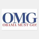 OMG Obama Must GO Rectangular Sticker
