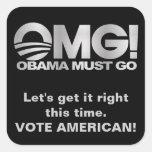 OMG! Obama Must Go - Silver / Black Square Stickers
