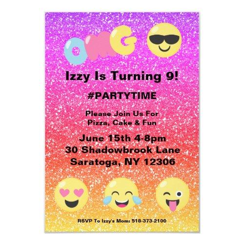 OMG Ombre Glitter Emoji Birthday Invitation