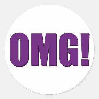 OMG! purple Classic Round Sticker