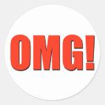 OMG! red Round Stickers
