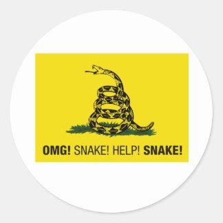 ¡OMG! ¡Serpiente! ¡Ayuda! ¡Serpiente! Pegatina Redonda