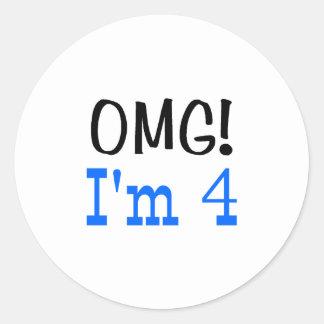 OMG soy 4 (el azul) Pegatina Redonda