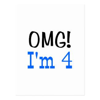 OMG soy 4 (el azul) Tarjeta Postal