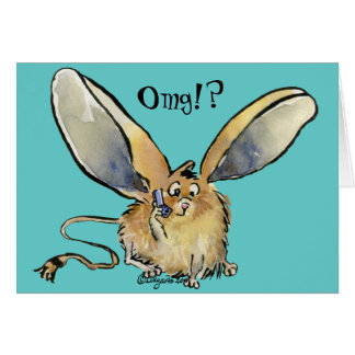Omg, Text Me Cartoon Long Eared Jerboa Card