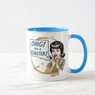 OMG! Use a Coaster! Funny Retro Coffee Ring Mug