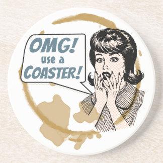 OMG! Use a Coaster! Funny Retro Coffee Ring Sandstone Coaster