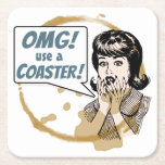 """OMG! Use a Coaster! Funny Retro Coffee Ring Square Paper Coaster<br><div class=""""desc"""">Are you always having to tell people to use a coaster? Well now you can let the coaster do the talking for you. This design shows a retro cartoon lady horrified at seeing yet another coffee ring on her freshly polished table. The speech bubble has the text &quot;OMG! use a...</div>"""