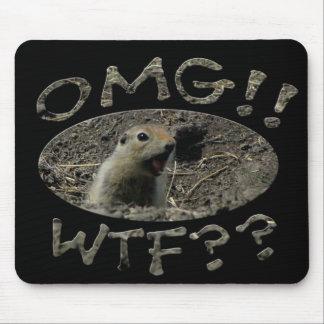 OMG WTF Gopher/Black Bground Mouse Pad