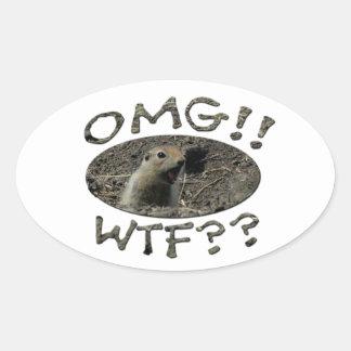 OMG WTF Gopher Oval Sticker