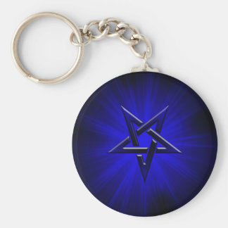 Ominous Blue Inverted Pentagram Keychain
