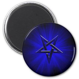 Ominous Blue Inverted Pentagram Magnets