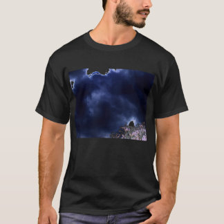 Ominous Blue Storm Over Purple Negative Treetop by T-Shirt