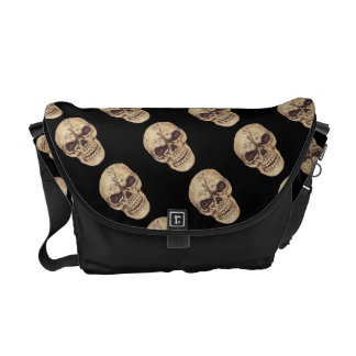 Ominous goth skull courier bag