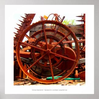 Ominous Machinations - old wheel farm tools junk Poster