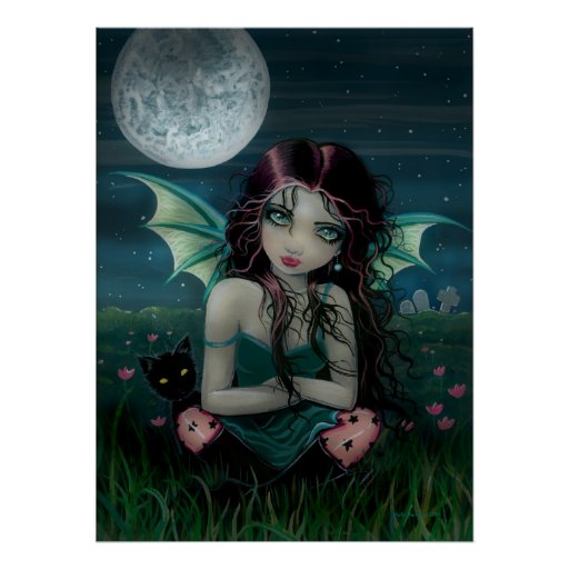 Ominously Sweet Vampire Fairy and Cat Poster