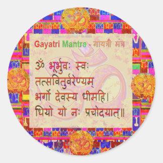 OmMantra GayatriMantra Sanskrit Script by Naveen Round Stickers