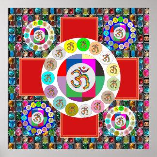 OMmantra Meditation Mandala GEM PEARL ENERGY Poster