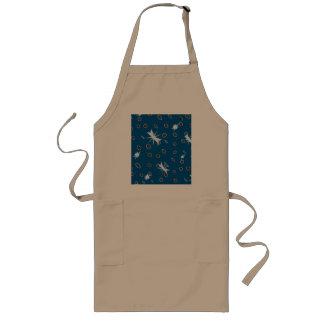 Omni dots blue brown white stars long apron
