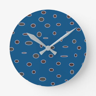 Omni dots manly blue brown pattern Dots02 Round Clock