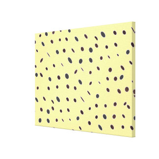 Omni dots pale yellow,  black pattern canvas print