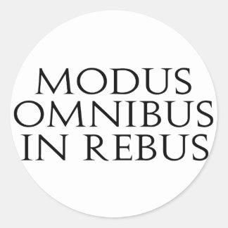 Omnibus del modo en jeroglífico etiqueta redonda