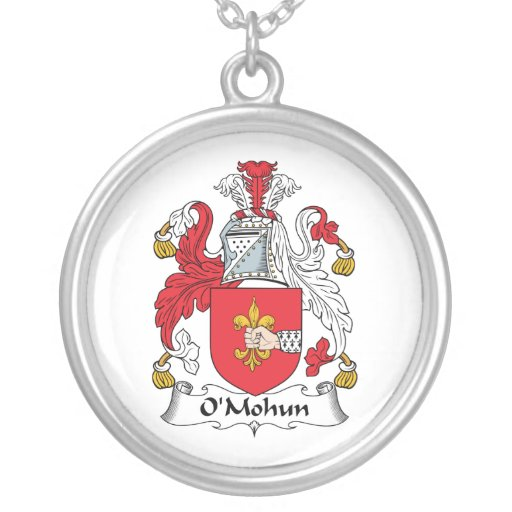 O'Mohun Family Crest Round Pendant Necklace