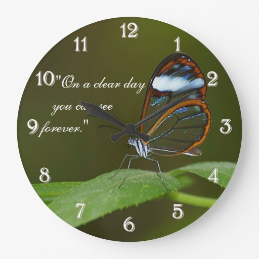 """""""On a Clear Day"""" Glasswing Butterfly Design Wallclock"""