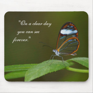 """""""On a Clear Day"""" Glasswing Butterfly Design Mouse Pad"""