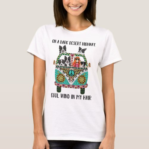 On A Dark Desert Highway Border Collie T_Shirt