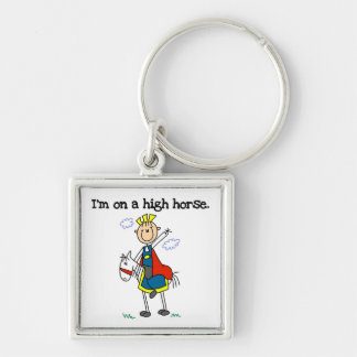 On a High Horse Silver-Colored Square Keychain
