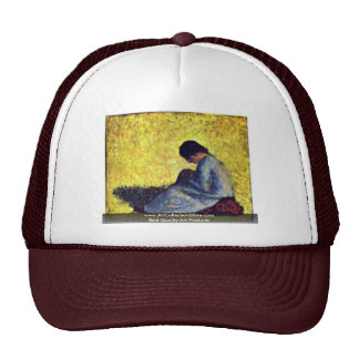 On A Meadow Sedentary Peasant Girl Mesh Hats