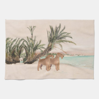 On a Palmy Seashore Kitchen Towel